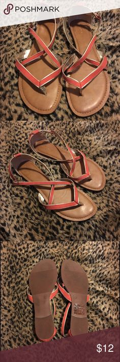 Gladiator strap sandals Worn a few times with no damages. Merona gladiator sandals in an orange tone Merona Shoes Sandals