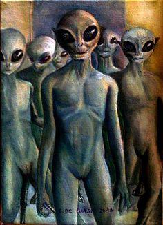 invasione  aliena  30x40  olio  su  tela   cristina  de  biasio
