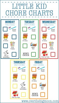 Little Kid Chore Charts (Best for Ages 2-4) - Available to download in PSD, PDF and JPG from www.overthebigmoon.com!