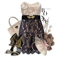 """Flowers and Lace"" by jenpep ❤ liked on Polyvore featuring Lanvin, Valentino, Armani Exchange, Balmain and Alexon"