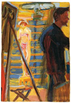 Ernst Ludwig Kirchner (1880-1938), Erich Heckel and Model in Studio, 1905, Oil on cardboard