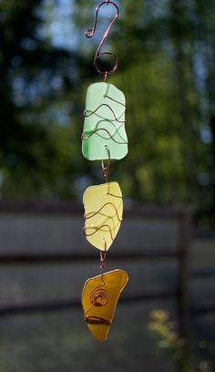 Sea Glass Sun Catcher Copper Suncatcher Handmade