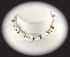 Vintage Jewelry Art Glass Painted Beaded Necklace   Item CB 100428