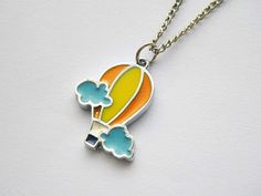 silver plated enameled hot air balloon pendant by VintageHomage, $7.00