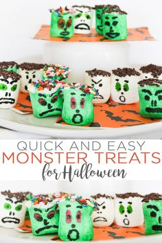 These monster mallows are sure to hit the spot this Halloween! These Halloween treats can be made in minutes and the whole family will love them! Halloween School Treats, Halloween Snacks, Diy Halloween Costumes, Halloween Party, Food Crafts, Diy Crafts, Monster Treats, Country Chic Cottage, Farmhouse Style