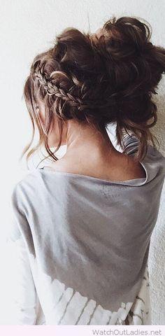 Braid and messy hairdo
