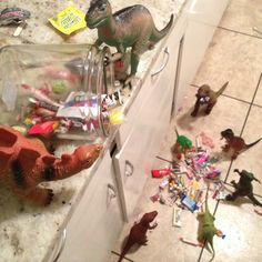 Pin for Later: 30 Dinovember Pictures That Will Drive Your Kids Wild Raiding the Candy Jar Plastic Dinosaurs, Dinosaur Toys, Dino Toys, Fantasy Play, The Good Dinosaur, Candy Jars, Halloween Candy, Childhood, Artsy