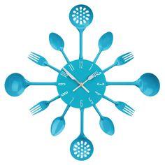 Wall Clock, Blue Cutlery, Metal