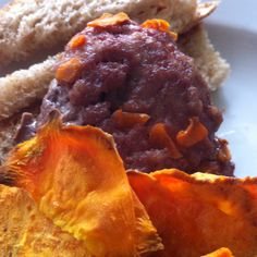 """Baked sweet potato chips with carrot burgers and wheat bread sticks.  Questions arose re: carrot burger - but he ate it after I told him it was a """"special"""" burger."""