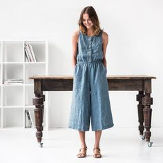 29ebabce57a9 Linen front button jumpsuit PALMA   Washed linen overall   Linen romper  available in 34 colors