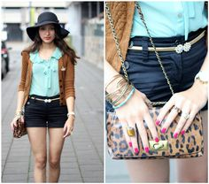 H Floppy Hat, New Look Green Blouse, Oasis Leopard Bag