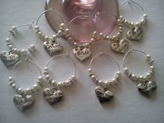 Top Table Wedding Wine Glass Charms by HellysCrafts on Etsy, £1.00
