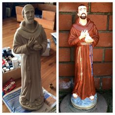 Francis statue I painted with acrylic paint, February St Francis Statue, February 2015, Acrylic Art, Arts And Crafts, Paintings, Inspiration, Fashion, Biblical Inspiration, Moda
