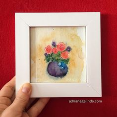 Copyright by Adriana Galindo -  Amor em miniatura, aquarela emoldurada  watercolor, miniatura, miniature, flor, flores, flower, miniature, nature, natureza, ilustracao, illustration,
