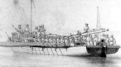 Un buque de guerra danés en la batalla de Copenhague
