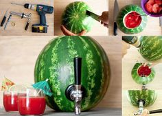 Make your own Watermelon Cocktail Keg for your next summer gathering! It's easy to turn a large ripe Watermelon into the talk of your next party. Just fill it with your favorite party beverage, cocktail or fruit punch. Party Drinks, Fun Drinks, Beverages, Fruity Cocktails, Alcoholic Drinks, Cocktail Parties, Refreshing Drinks, Cocktail Drinks, Cold Drinks