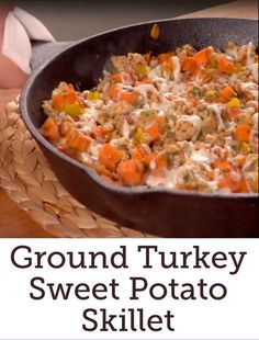 Ground Turkey Sweet Potato Skillet Recipe | Here's a simple and hearty meal you can throw together quickly during the dinner hour rush.  Click to watch the short video and see how easy it all comes together! #familydinner