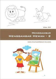 buku petunjuk langkah-langkah menggambar aneka hewan/binatang untuk anak SD