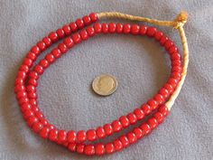 """21"""" Str Vintage African Trade Beads, Red White Hearts 6-8mm  ebay $20"""