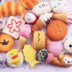 10pcs Random Kawaii Mini Soft Squishy Foods Doughnut Lovely Cake Cute Bread Phone Straps Charm Kids Toy Gift