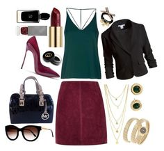 """""""Jewel tones"""" by pulseofthematter ❤ liked on Polyvore featuring River Island, Topshop, Casadei, Sans Souci, Michael Kors, Thierry Lasry, Bulgari, Urban Decay, Gucci and Giorgio Armani"""