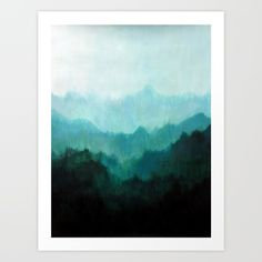 Original painting on canvas 18 x 24.  Mists, Mountains, Trees, Ombre, Nature, Natural, Green, Oregon.