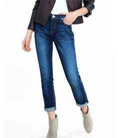Dark Wash Girlfriend Jeans, Women's Size:0