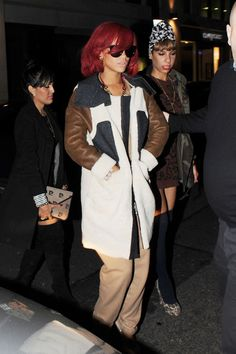 Rihanna Leather Coat - Rihanna wears an interesting coat with leather sleeves and shearling coat. Looks warm!