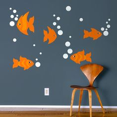 CQ Wall Decals and Decor   Wall Decals   Wall Stickers   Kids Decor   Fish & Bubbles Wall Decal Set