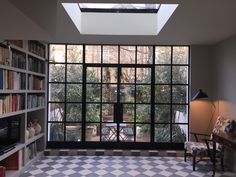 Stunning Crittall Screen into walled garden by Lightfoot Windows (Kent) Ltd Living Room Windows, House Windows, Windows And Doors, Home Library Rooms, Georgian Terrace, French Windows, House Extensions, Luxury Interior, Crittall Windows