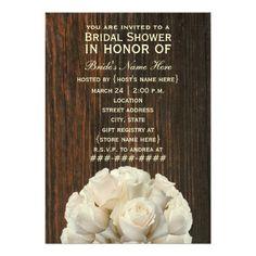 White Roses & Barnwood Rustic Bridal Shower Invite