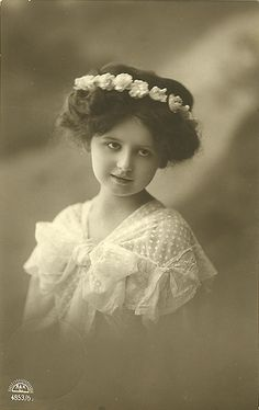 Vintage Postcard ~ Girl with Flowers in Hair