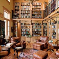 Who wouldn't want to snuggle up with a good book in a library this epic? Check out more decor inspiration on the blog! #homedecor #inspiration #dreamhome