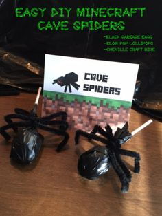 DIY Minecraft Cave Spiders: Minecraft Cave Spiders using lollipops and black garbage bags. Minecraft Enderman, Minecraft, Minecraft Party, Minecraft Birthday, Minecraft Enderman Birthday, Minecraft Enderman Party, Minecraft Enderman Decoration