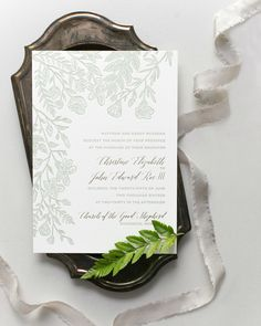 Monochromatic Illustrated Botanical Wedding Invitations by Fourteen Forty