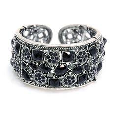 Cuff Bracelet w/ Geometric Stone Accents