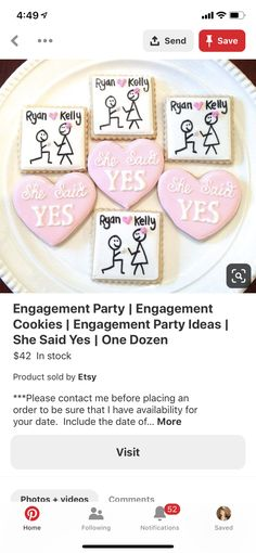 Fall Engagement Parties, Engagement Cookies, Ryan Kelly, Party, Etsy, Parties