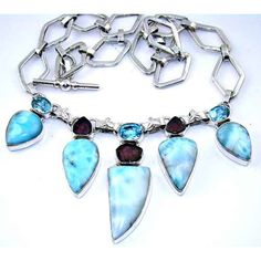Necklace with Larimar, Purpke Amethyst Faceted, Blue Topaz Gemstone, set in 925 Sterling Silver $451.20