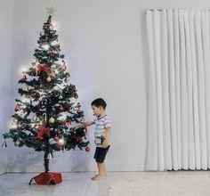 O natal já está chegando e a decoração já começou nossa árvore já está pronta! Quantos dias será que ela aguentará o furacão Lucas  #brincadeira #eleaindanaomecheu