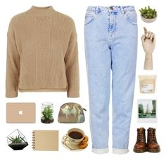 """""""i admire you on the subway"""" by softenedpressures ❤ liked on Polyvore featuring Topshop, Dr. Martens, Polaroid, Davines, HAY, 3M and Muji"""
