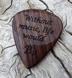 Handmade Mun Ebony Premium Wood Guitar Pick  by NuevoWoodcrafts