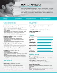 Professional & Elegant Resume of Freelance Graphic & Website Designer from Calgary Canada. If you you looking for the Professional resume that get you an inte… Web Designer Resume, Graphic Designer Resume Template, Artist Resume, Graphic Design Resume, Freelance Graphic Design, Cv Design, Freelance Designer, Design Ideas, Cv Canada