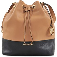 Michael Kors Jules Two Tone Bucket Bag ($335) ❤ liked on Polyvore featuring bags, handbags, backpacks, beige purse, rucksack purse, michael kors, purse backpack and michael kors purses
