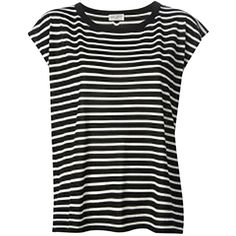 Pre-owned Saint Laurent Black Striped T Shirt ($270) ❤ liked on Polyvore featuring tops, t-shirts, none, stripe top, black t-shirt, striped tee, yves saint laurent tee and black tee