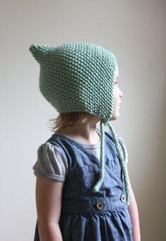 KNITTING PATTERN PDF File - Knit Pixie Bonnet Pattern - Baby Bonnet Pattern - Hat Pattern - Knit Baby Hat Pattern - Baby Knitting Pattern
