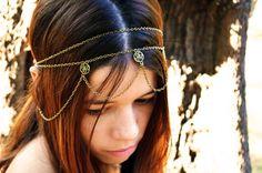 Chain Headpiece Headband Hair Piece Gypsy Bohemian Hipster Boho Bronze Emerald Crystal Charm DrapesBridal  Jewelry. $19.00, via Etsy.