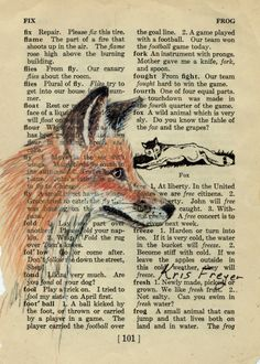 Fox head painted on dictionary paper.
