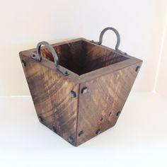 Rustic Decorative Wood Box for Storage in Kitchen Garden Bathroom Bedroom Forged Iron Handles Blacksmith Industrial Modern