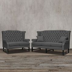 Gray Two Piece Linen Sofa Loveseat Set Tufted Wing Back Rolled Arms  Nailhead #na #