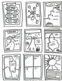 Graphic Facilitation Templates Sketch Coloring Page Visual Thinking, Design Thinking, Visual Note Taking, Note Doodles, Buch Design, Visual Learning, Sketch Notes, Retro Pop, Snoopy And Woodstock